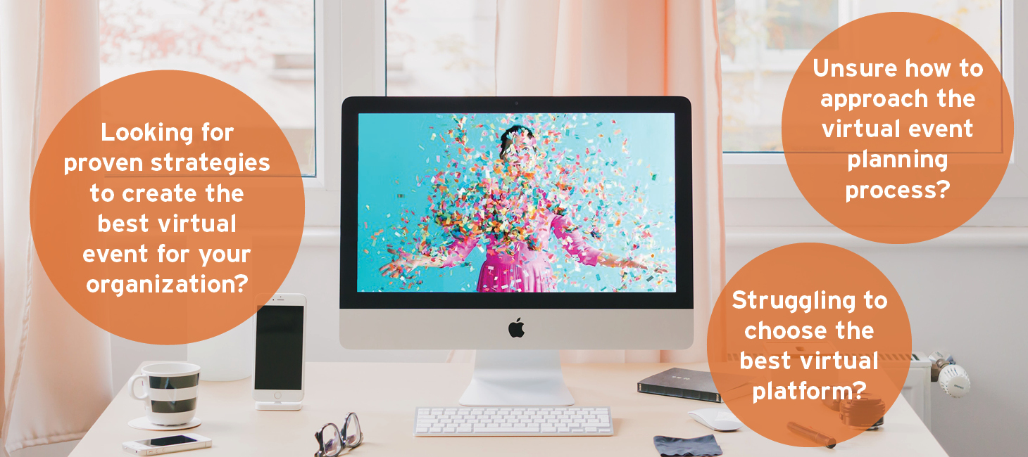Blue computer screen with woman in pink dress and confetti